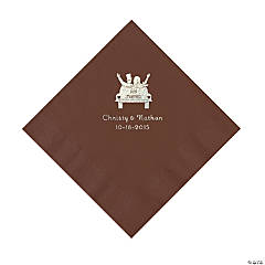 Chocolate Brown Just Married Personalized Napkins - Luncheon