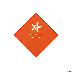 Orange Starfish Personalized Napkins - Beverage