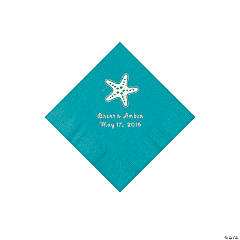 Turquoise Starfish Personalized Napkins - Beverage