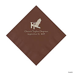 Chocolate Brown Beach Chair Personalzied Napkins- Luncheon