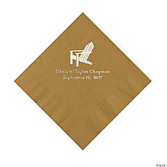 Gold Beach Chair Personalized Napkins- Luncheon
