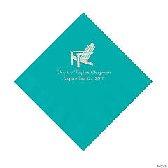 Teal Beach Chair Personalized Napkins- Luncheon