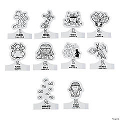 Color Your Own 10 Plagues Finger Puppets