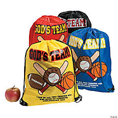 Nonwoven Polyester God's Team Drawstring Backpacks