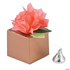 Coral with Copper-tone Box Tissue Flower Favor Boxes