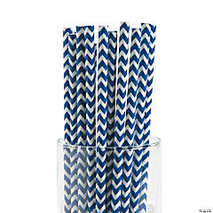 Blue Chevron Paper Straws