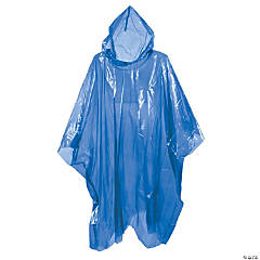 Plastic Blue Rain Ponchos for Adults