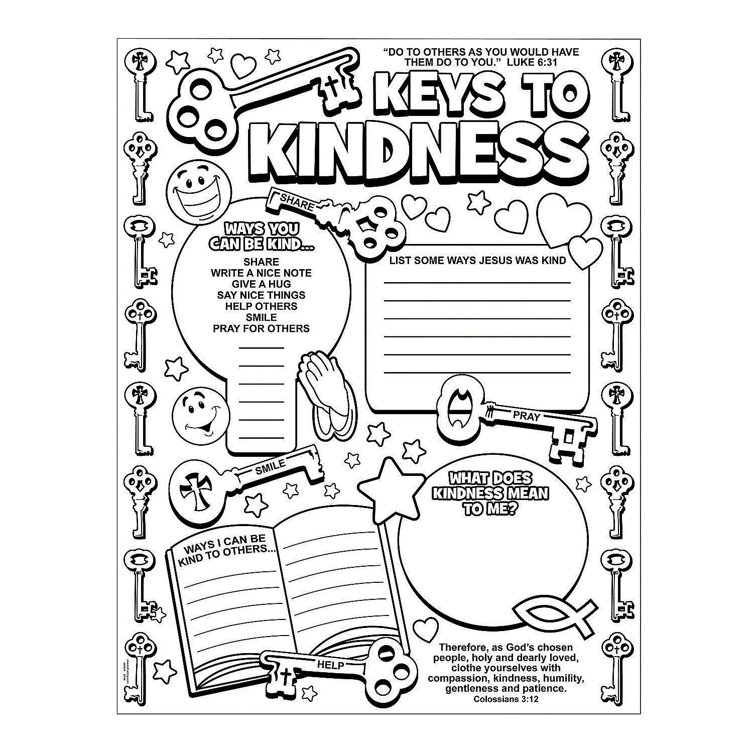 """Color Your Own """"Key to Kindness"""" Posters, Coloring Crafts"""