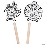 Color Your Own Fall Friends Stick Puppets