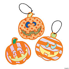 Color Your Own Fuzzy Patterned Pumpkin Ornaments