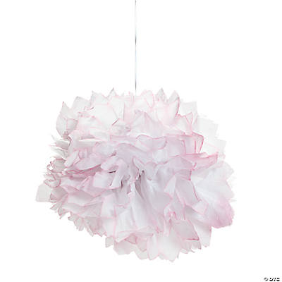 Light Pink Tipped Tissue Pom-Pom Decorations