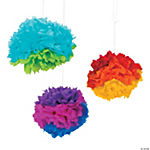 Rainbow Tissue Pom-Pom Decorations