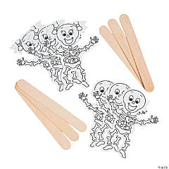 Color Your Own Skeleton Stick Puppets