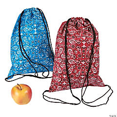 Nonwoven Polyester Bandana Drawstring Backpacks