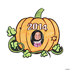 Color Your Own 2014 Pumpkin Picture Frame Magnets