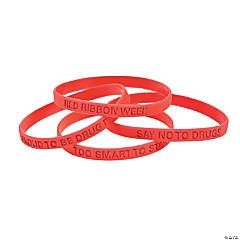Red Awareness Ribbon Thin Silicone Bands