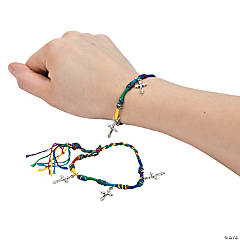 Rainbow Friendship Bracelets with Cross Charms