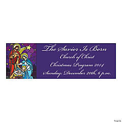 Stained Glass Nativity Small Personalized Banner