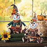 Plush Sitting Harvest Scarecrow Couple