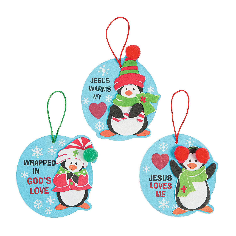 Penguin religious christmas ornament craft kit ornament for Religious christmas crafts for kids
