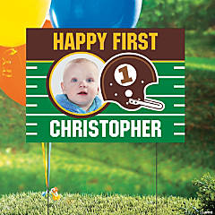 1st Birthday Touchdown Custom Photo Yard Sign