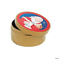Santa with Jesus Round Gift Tins