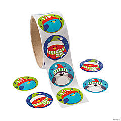 Christmas Birds Roll of Stickers