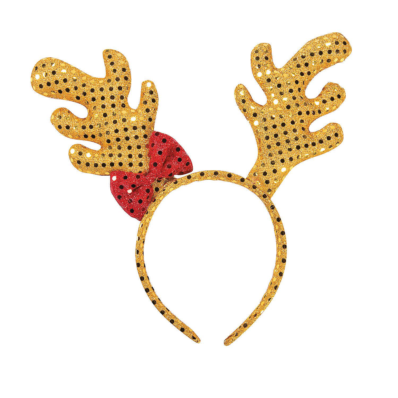 Plush sequin reindeer antler headband oriental trading for Reindeer antlers headband craft