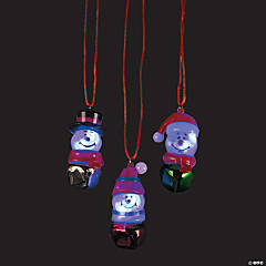 Jingle Bell Snowman Light-Up Necklaces