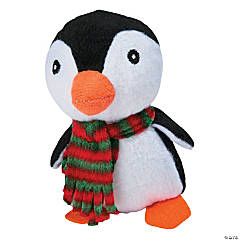 Plush Penguins with Plaid Scarf