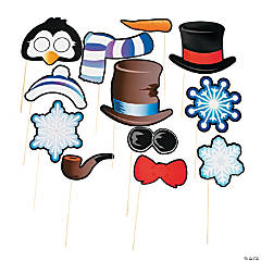 Snowman & Penguin Photo Stick Props