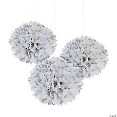 Silver Polka Dot Tissue Pom-Pom Decorations