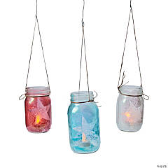 Patriotic Mason Jar Lanterns Idea