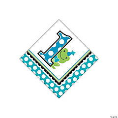 Preppy Frog Blue 1st Birthday Beverage Napkins