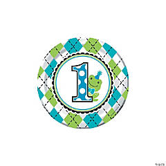 Preppy Frog Blue 1st Birthday Dessert Plates