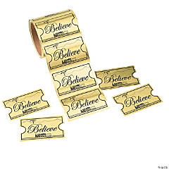 Gold Foil Believe Ticket Jumbo Roll of Stickers