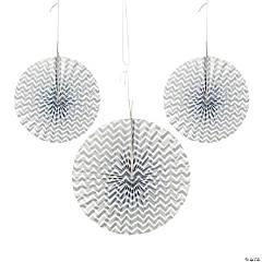 Paper Silver Chevron Hanging Fans