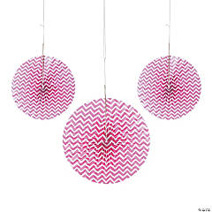 Paper Hot Pink Chevron Hanging Fans