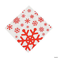 Red & White Snowflake Luncheon Napkins