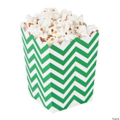 Mini Green Chevron Popcorn Boxes