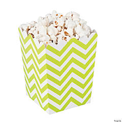 Paper Mini Lime Chevron Popcorn Boxes