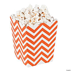 Paper Mini Orange Chevron Popcorn Boxes