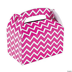 Paper Hot Pink Chevron Treat Boxes