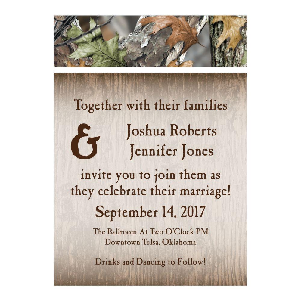 Personalized Camo Wedding Invitations - Invitations & Stationery &