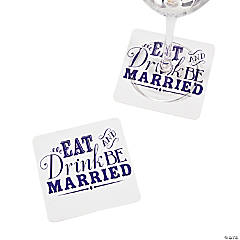 Paper Eat, Drink & Be Married Personalized Coasters