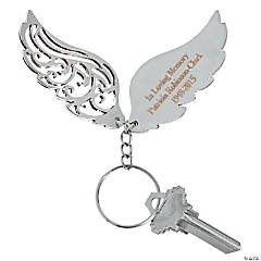 Angel Wing Memorial Personalized Key Chain