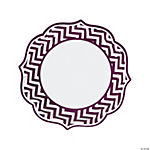 Plum Chevron Scalloped Edge Dinner Plates