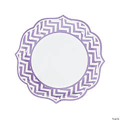Chevron Scalloped Edge Dinner Plates