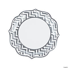 Silver Chevron Scalloped Edge Dinner Plates