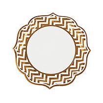 Gold Chevron Scalloped Edge Dinner Plates